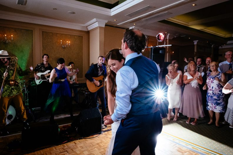bride and groom first dance at imperial hotel cork