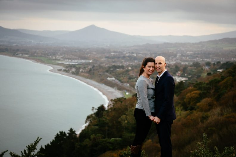 engaged couple overlooking dublin bay killiney