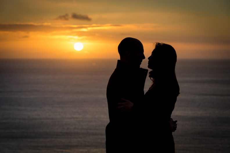 engaged couple at sunrise