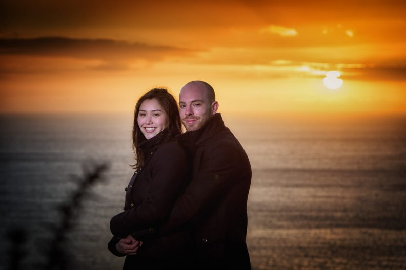 engaged couple at sunrise