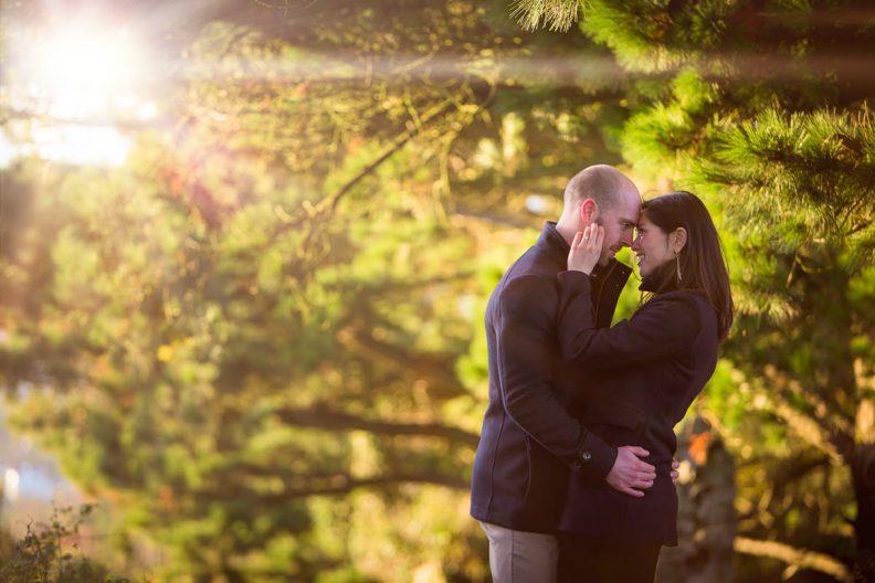 engaged couple embracing