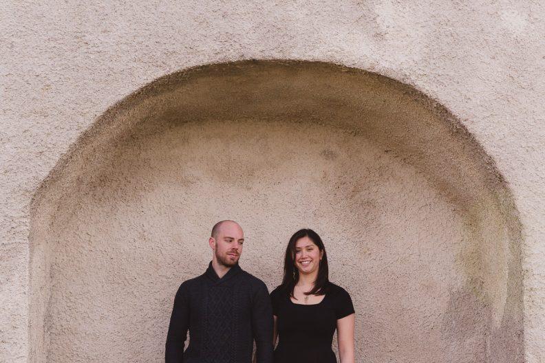 engaged couple posing