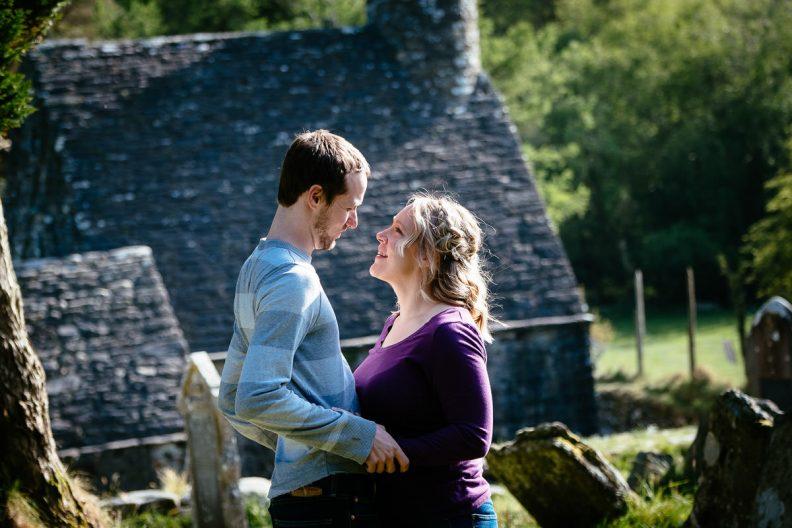 engaged couple at glendalough