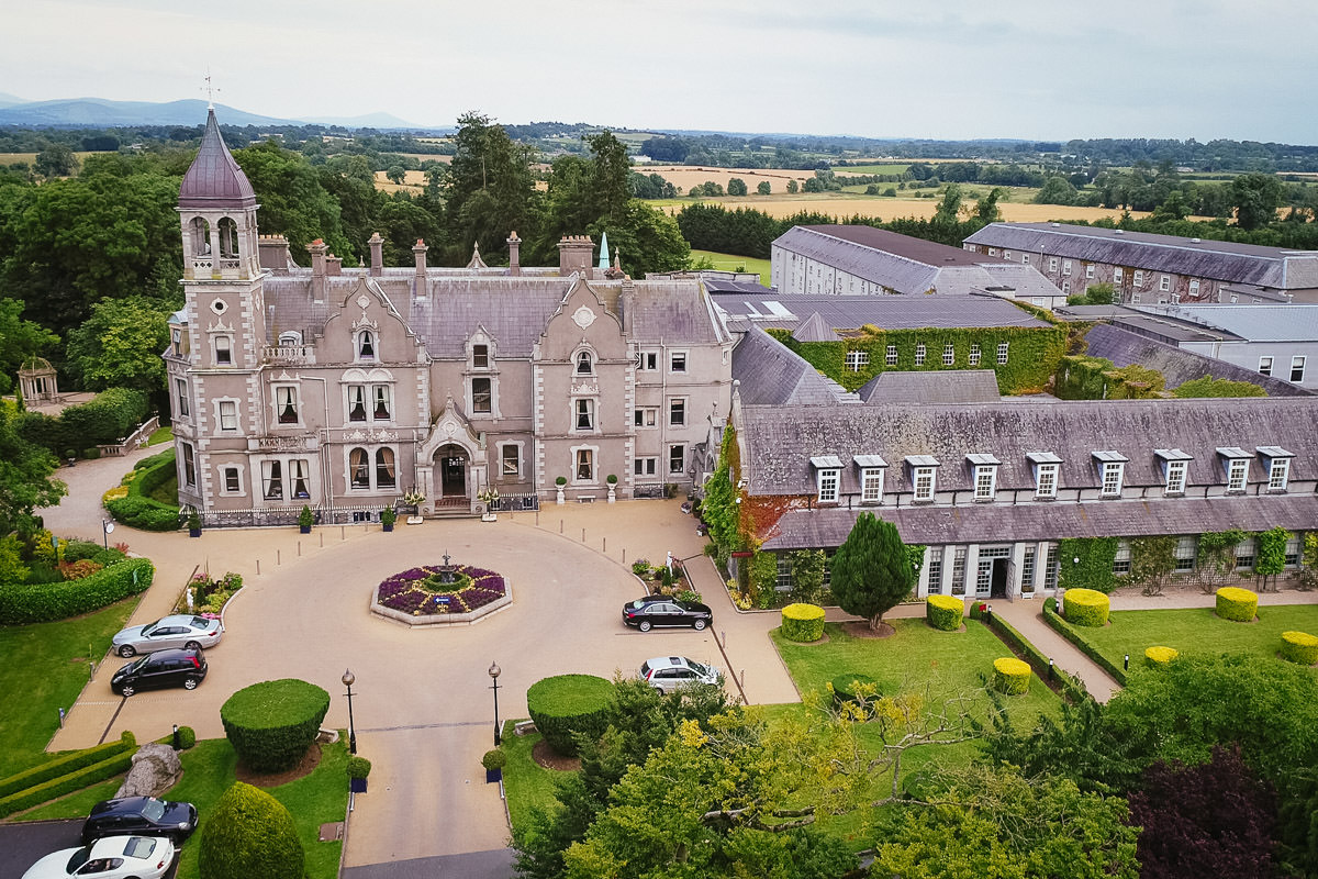 drone shot of killashee hotel wedding naas