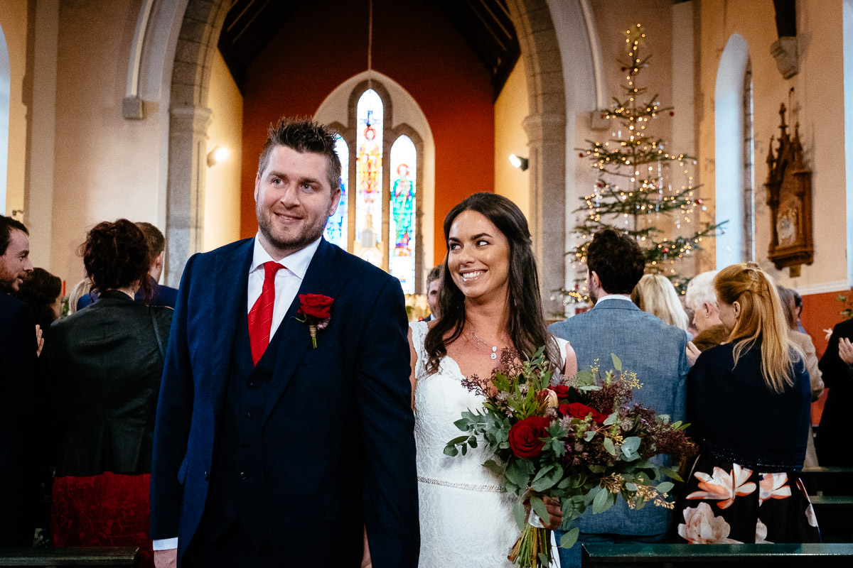 bride and groom at donard church