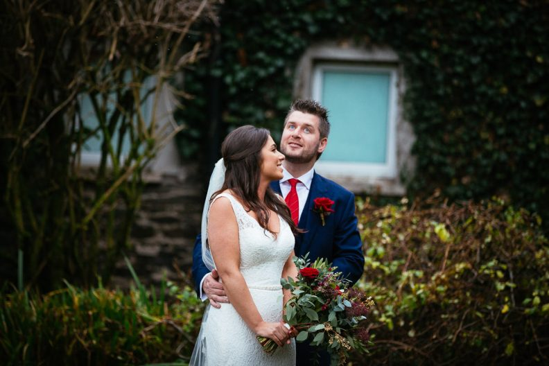 bride and groom at rathsallagh house
