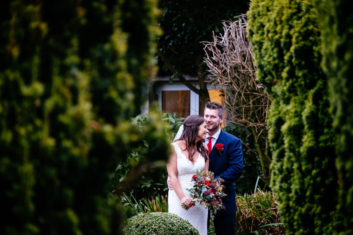 bride and groom embracing at rathsallagh house