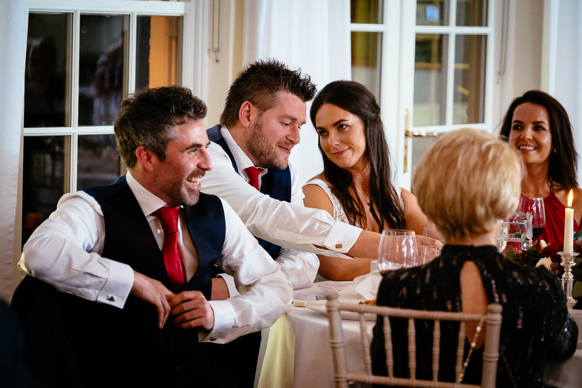 bride and groom during speeches at rathsallagh house wicklow