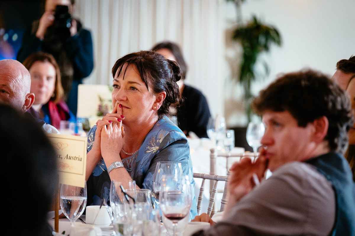 wedding guests during speeches at rathsallagh house wicklow