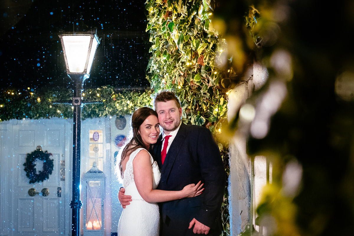 bride and groom in courtyard at rathsallagh house wicklow