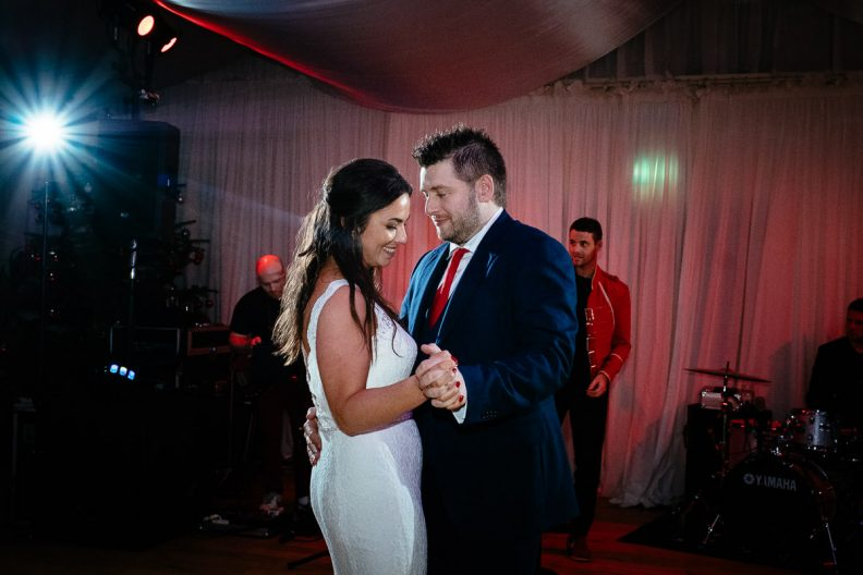 bride and groom first dance at rathsallagh house wicklow