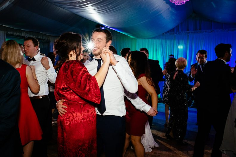 wedding guests dancing at rathsallagh house wicklow