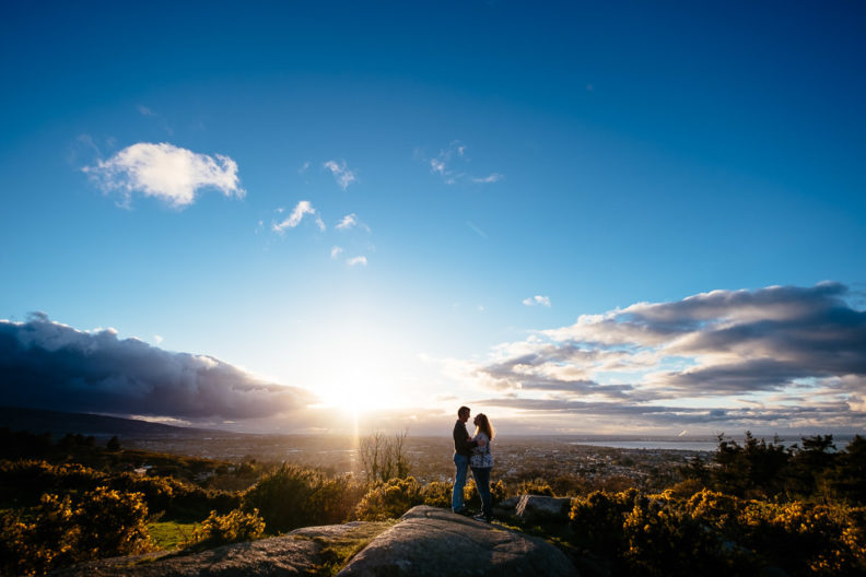 engaged couple at sunset during their engagement photography dublin ireland