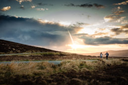 engaged couple in rural ireland at sunset during their Pre-Wedding Engagement Photo Session in Wicklow