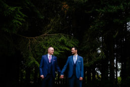 two grooms photoshoot at their irish gay wedding