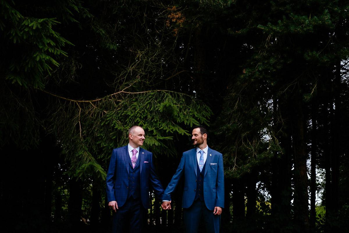 two grooms photoshoot at their irish gay wedding