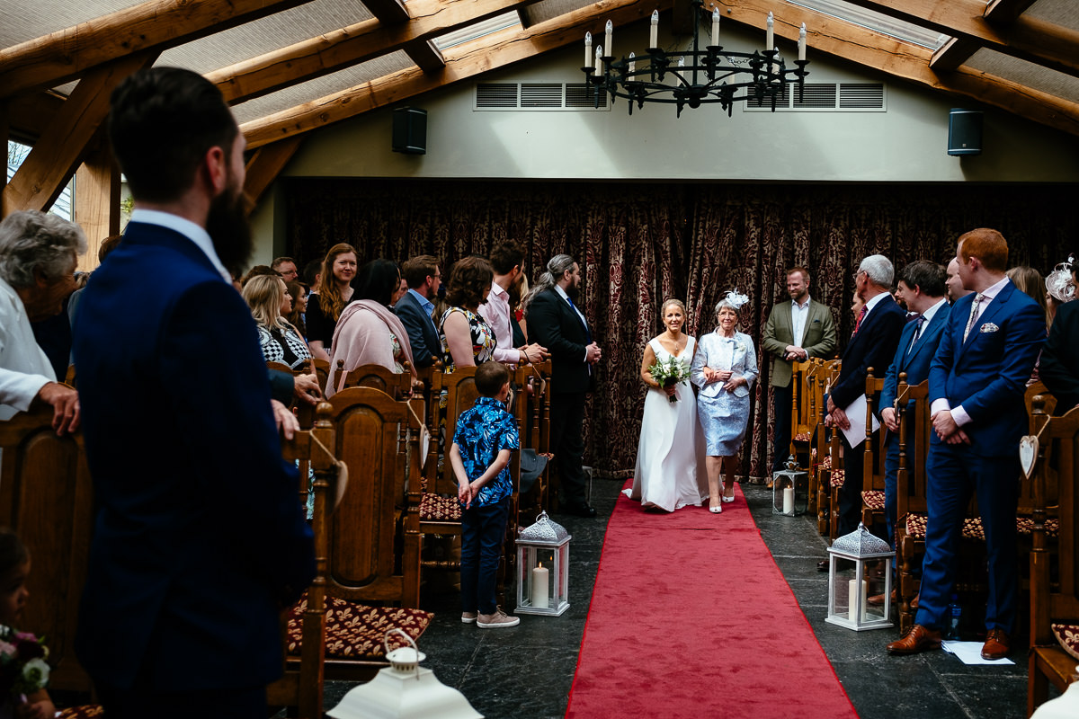 bride making an entrance at barberstown castle kildare