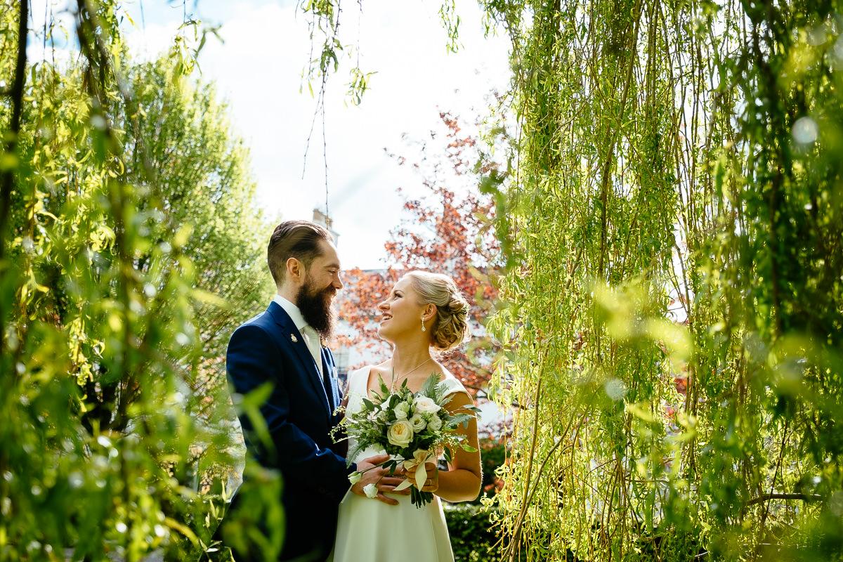 bride and groom talking at barberstown castle kildare