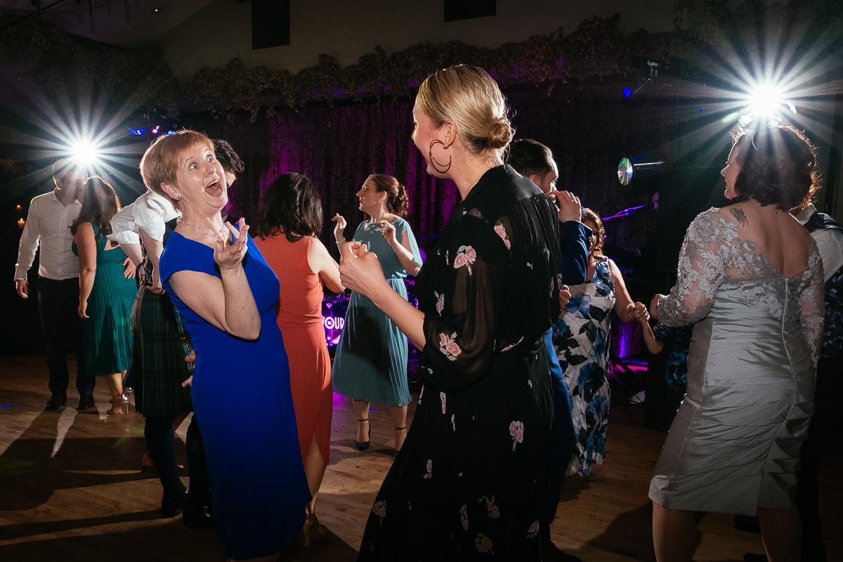 wedding guests dancing at barberstown castle kildare