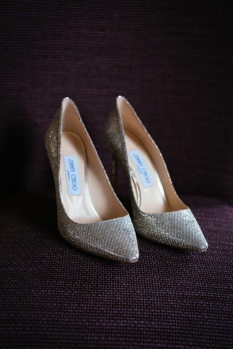 pair of brides jimmy choo shoes