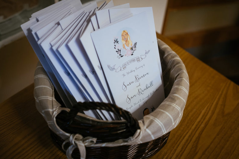 wedding invites in a basket