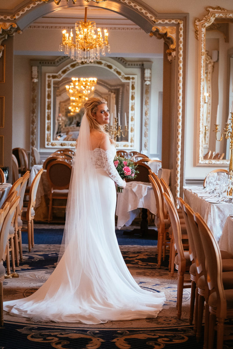 bride standing in the reception room of markree castle