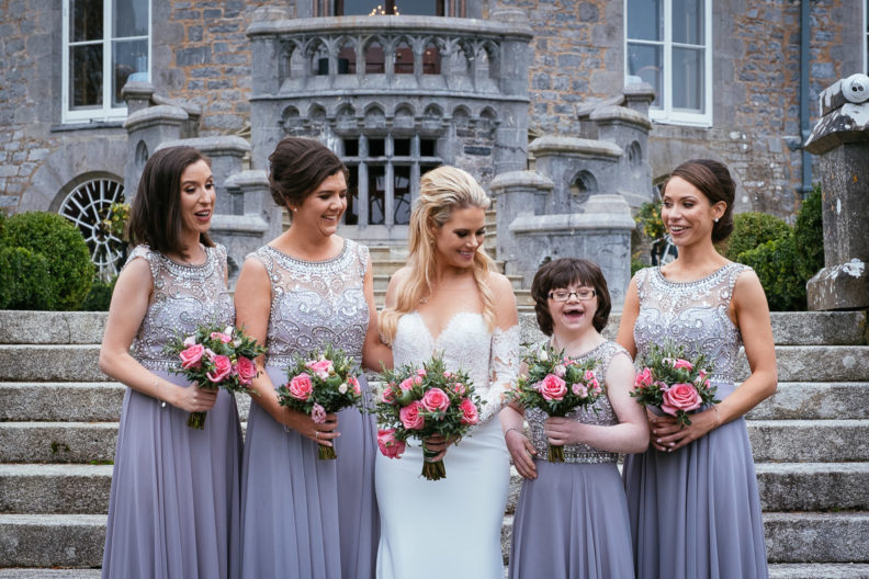 bridesmaids in front of markree castle
