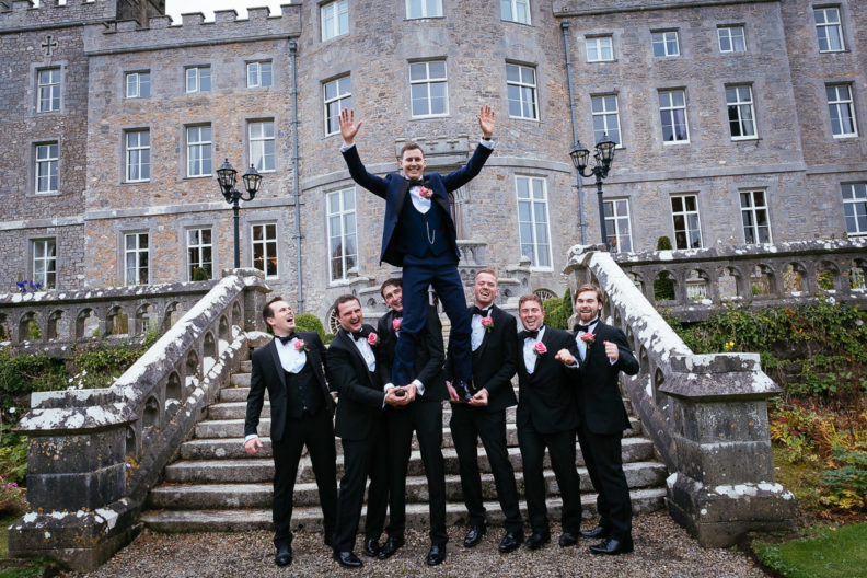 groomsmen in front of markree castle