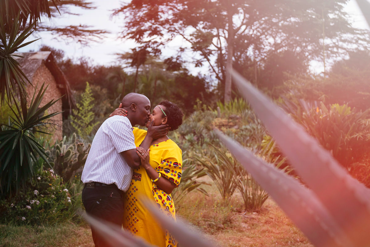 engaged couple kissing in Nairobi Kenya