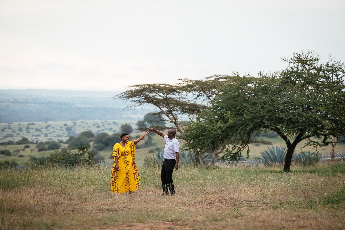 engaged couple dancing in Nairobi Kenya