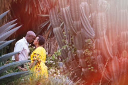 bride and groom kissing amongst cactus in nairobi kenya