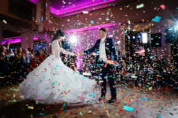 bride and groom having their first dance at their wedding at lough rynn castle