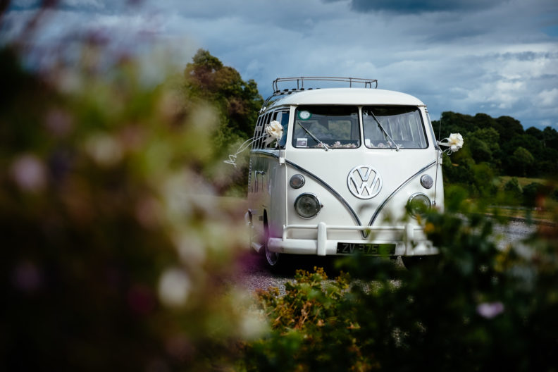 vw classic van at wedding