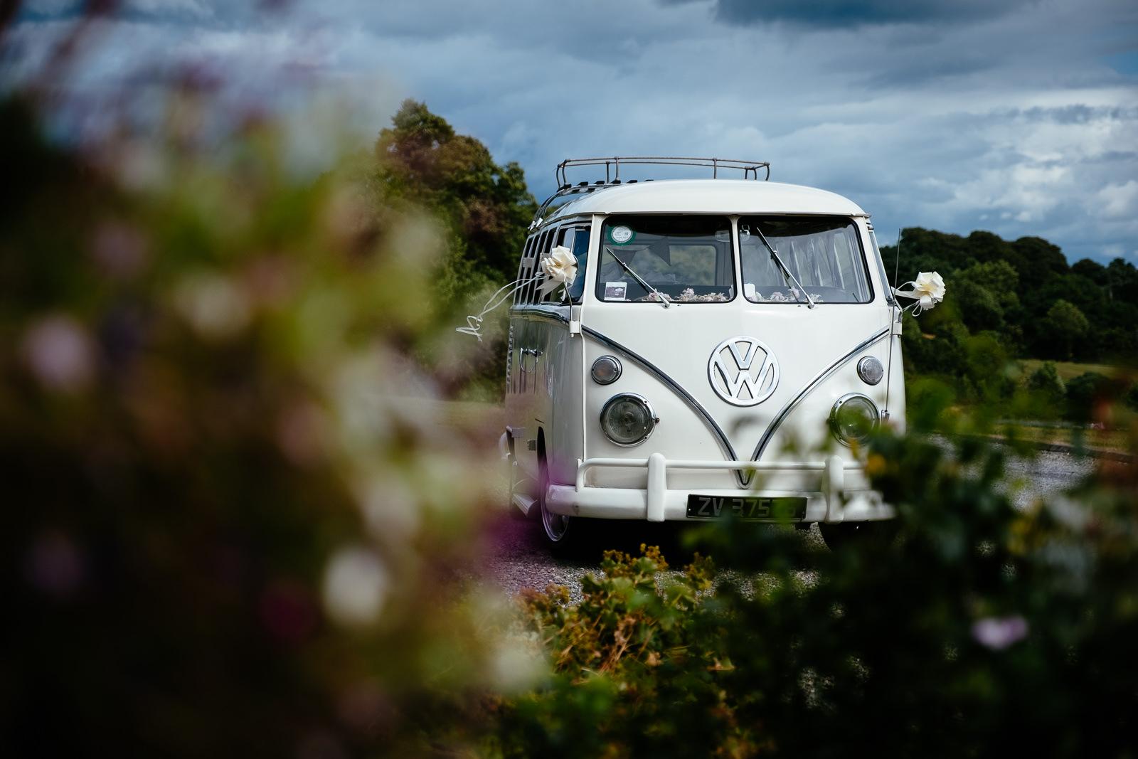 vw classic van at wedding