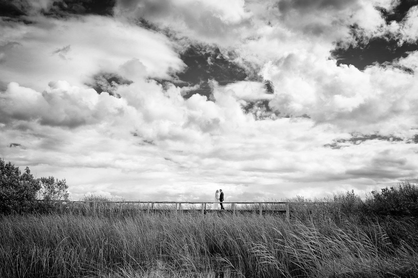 bride and groom standing on a bridge at glasson house athlone