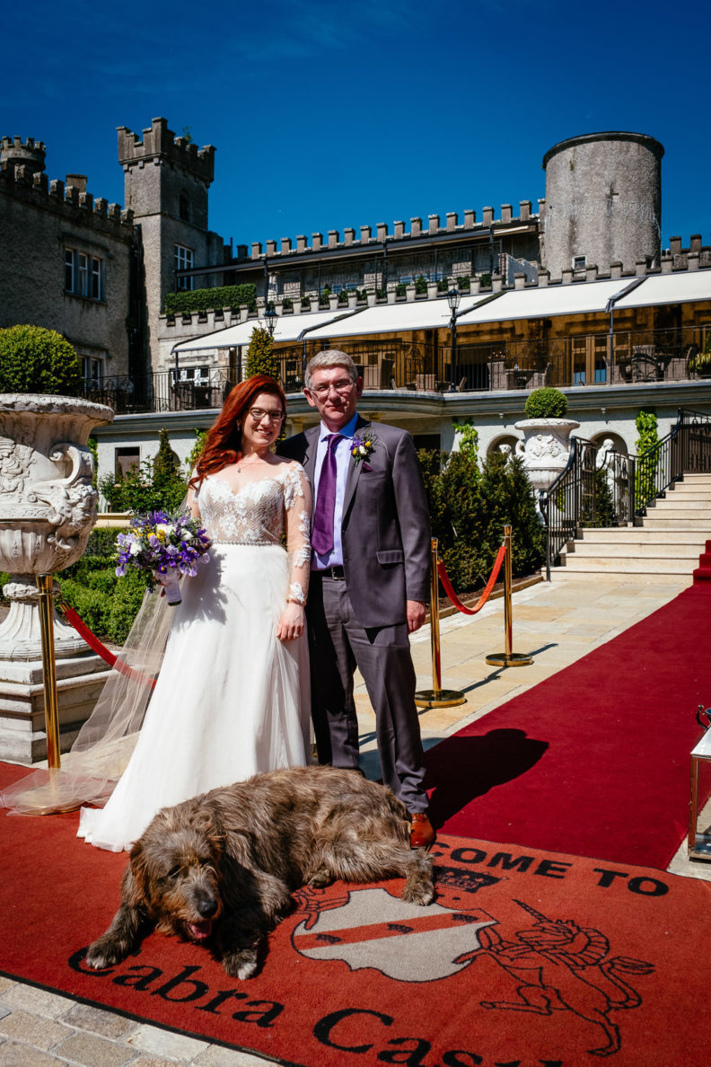 irish wolfhound sitting in front of cabra castle with the bride and groom