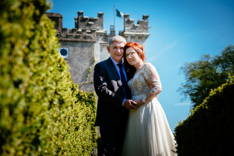 bride and groom at cabra castle