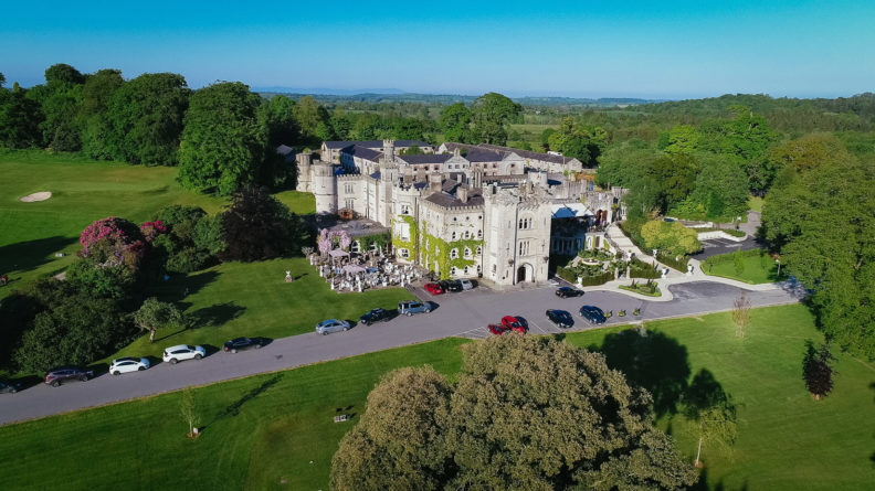 drone shot of cabra castle