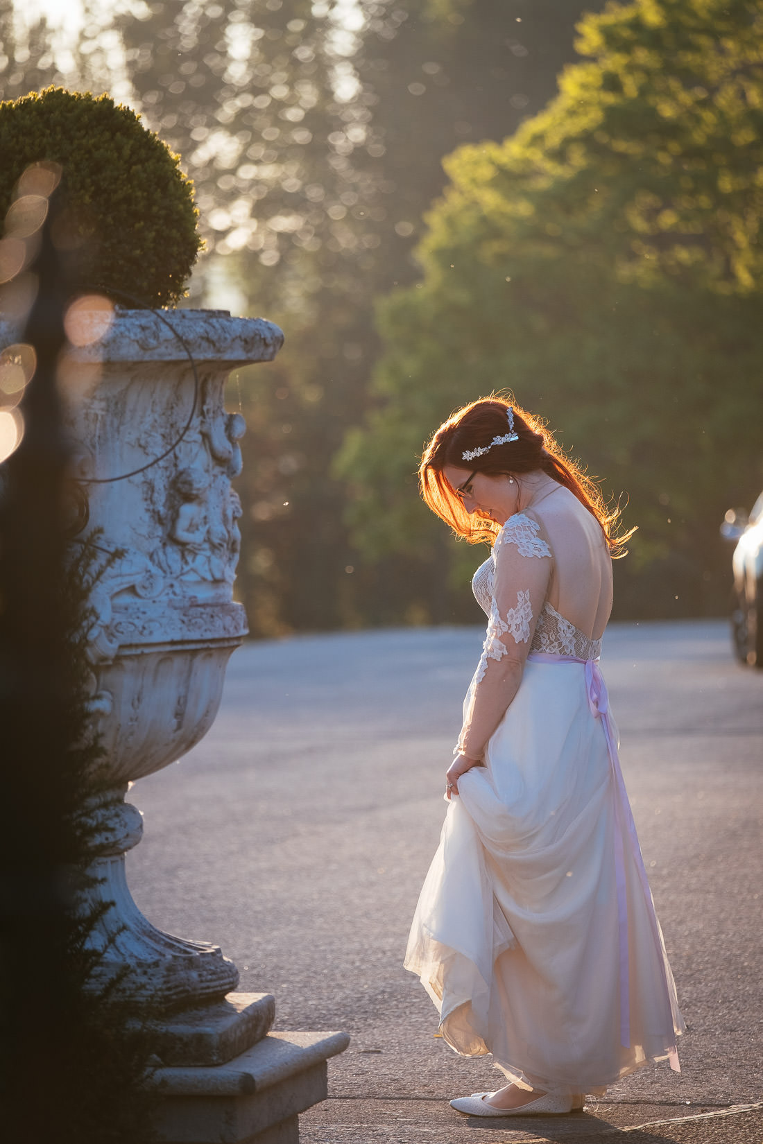 bride having a quiet moment at cabra castle