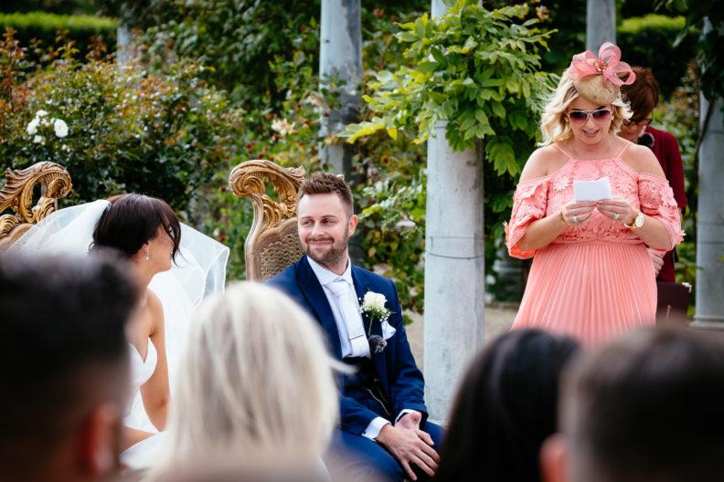 outdoor wedding ceremony at Castle Bellingham