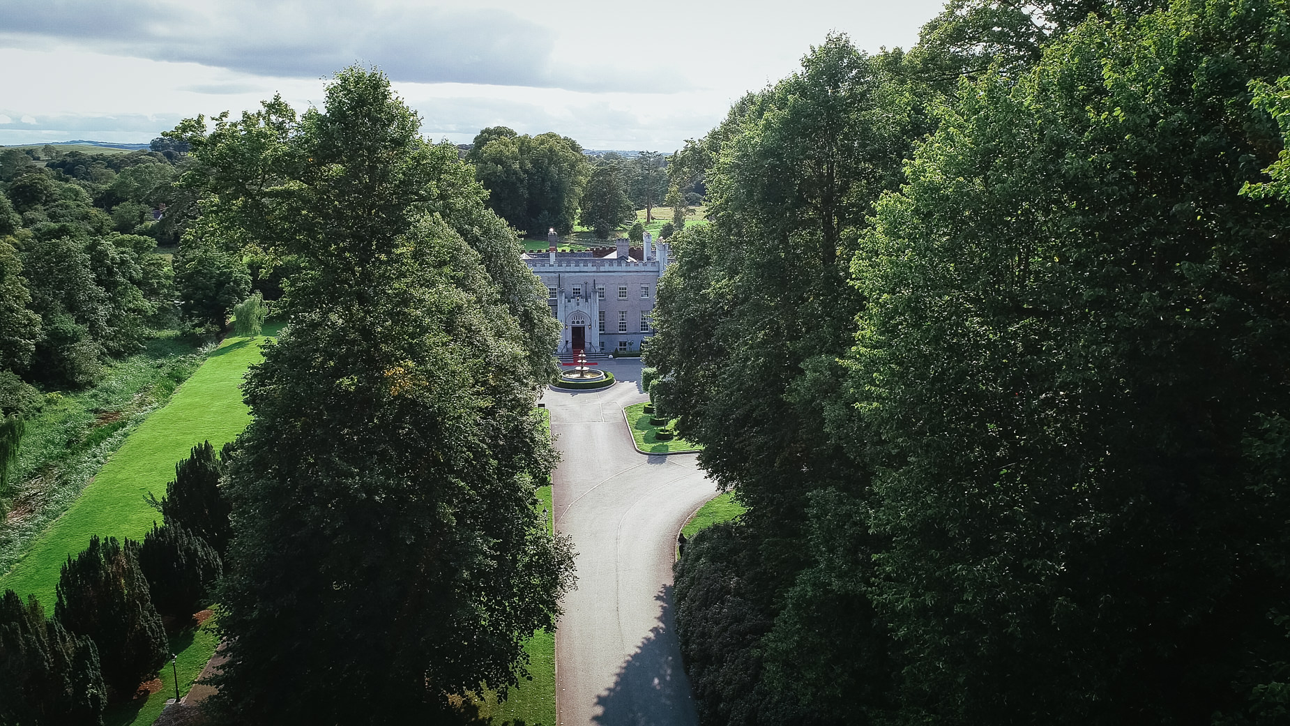aerial view of bellingham castle