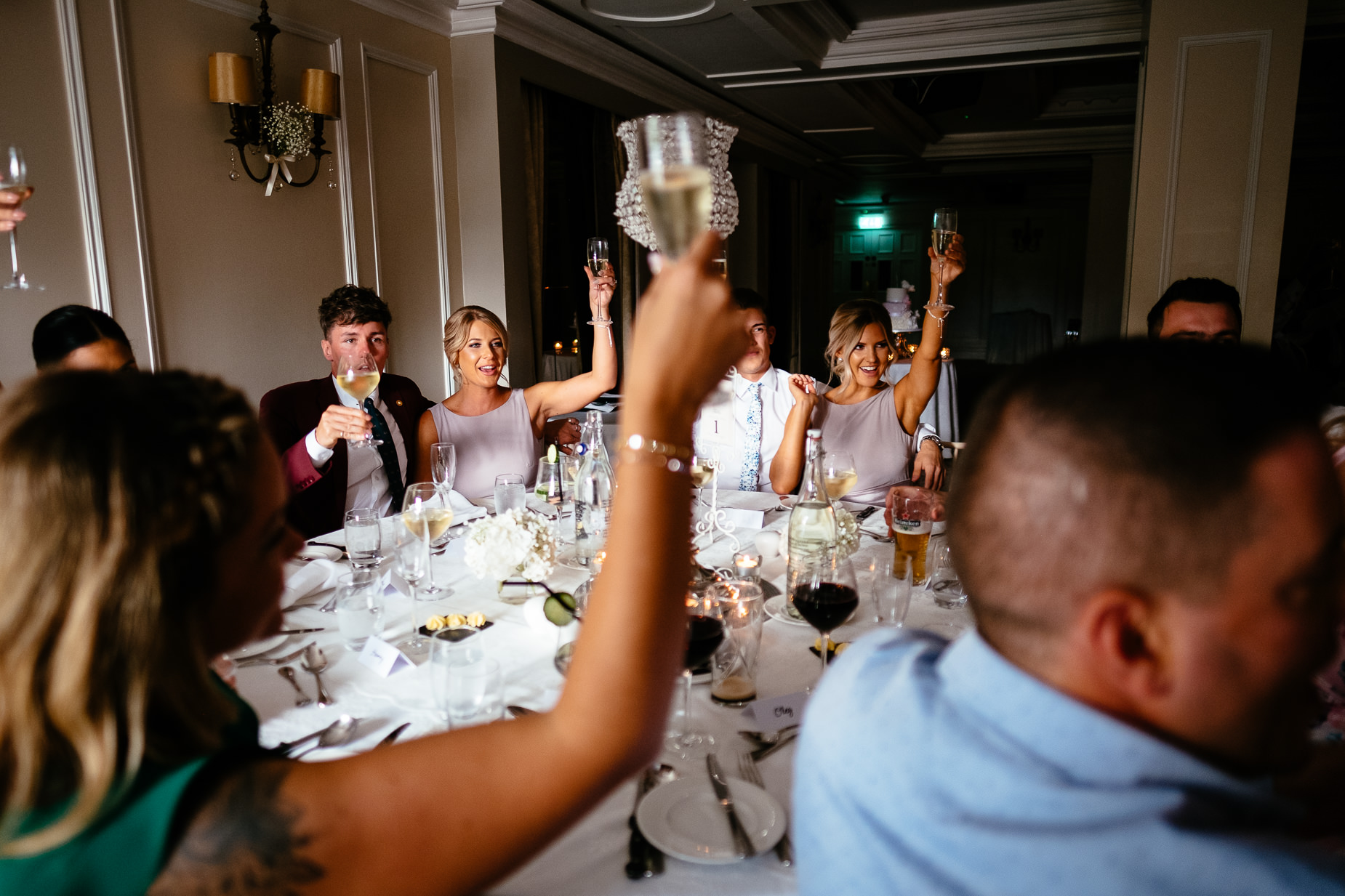 wedding guests raining glasses