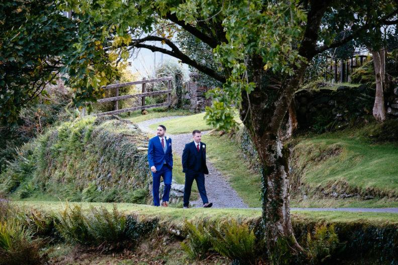 groom and best man walking