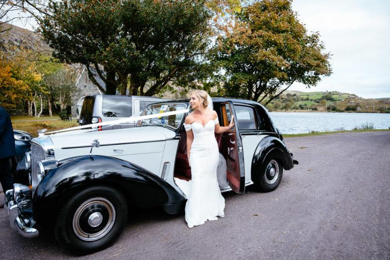 bride arriving at Gougane Barra church