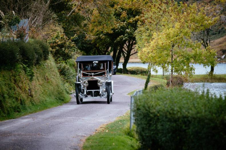 vintage car at gougane barra church wedding