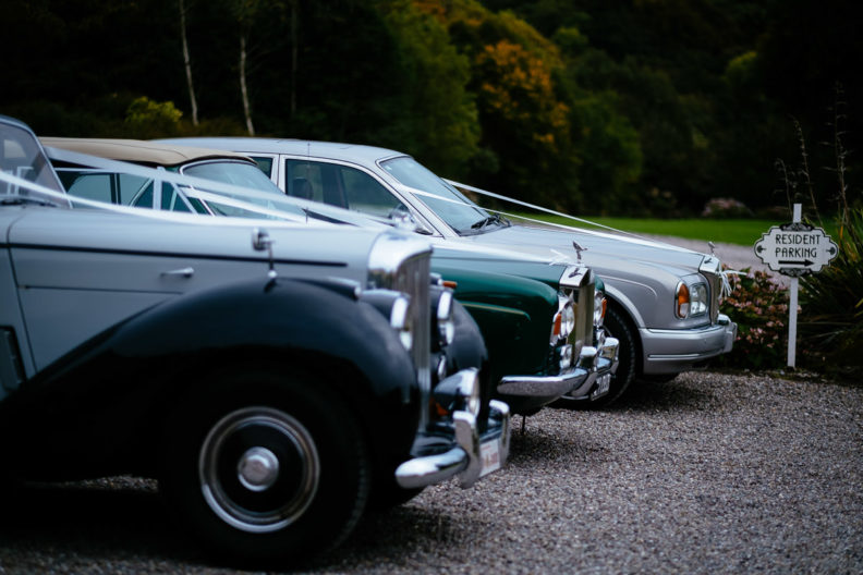 wedding vintage cars parked at ballinacurra house