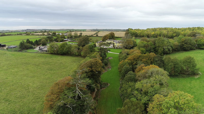 aerial drone view of ballinacurra house and gardens