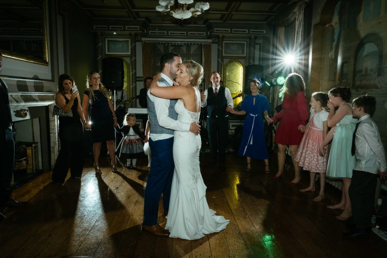 bride and groom first dance at ballinacurra house