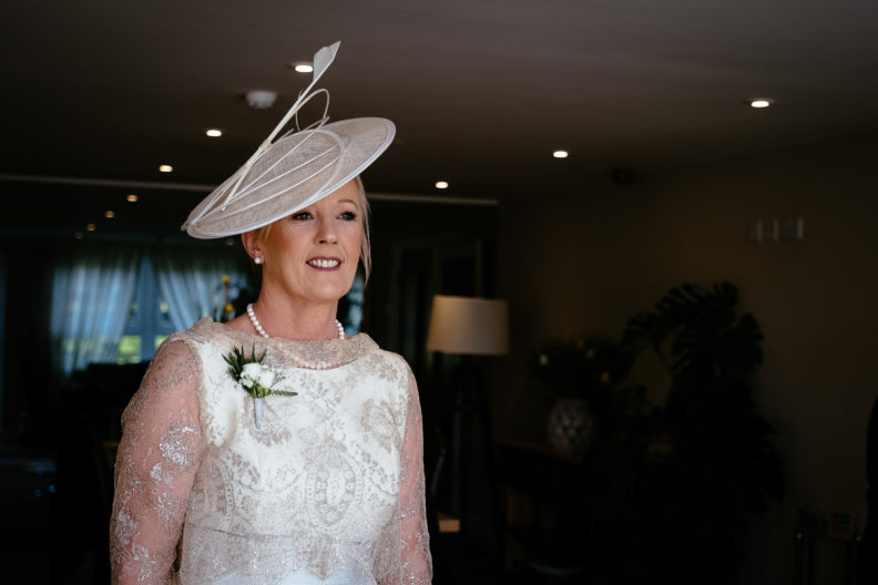 mother of the bride smiling at ballymagarvey village