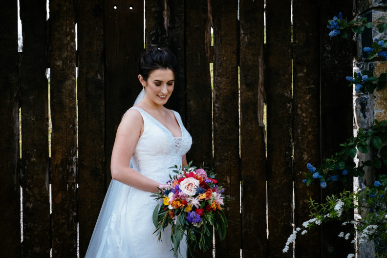bride in her private garden at ballymagarvey village